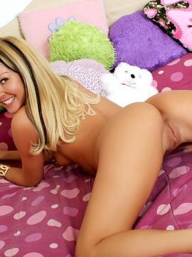 Pictures of teen amateur Aaliyah Love playing with her pink