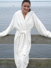 Pictures of teen Annabelle Angel wearing a robe outside