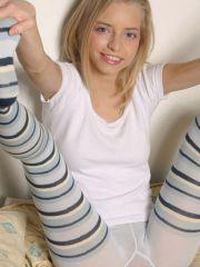 Pics of teen amateur Ashley Lightspeed teasing in her socks