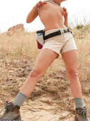 Pictures of Casey Parker getting naked on her hike