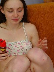 Pictures of teen amateur Cherry Caprice making a mess with food