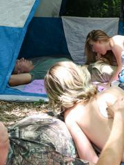 Blonde coeds Haley Reed and Alyssa Cole fuck each other's dads on a camping trip