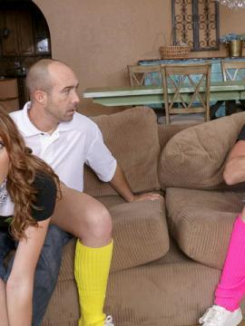 Horny teens Alyce Sage and Kimberly Moss fuck each other's dads