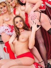 Pictures of Lexi Belle getting a lesbian orgy for valentine's day