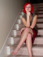 Pictures of teen Lindsey Marshal getting naked on the stairs