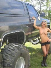 Pictures of Melissa Midwest getting naked with a monster truck