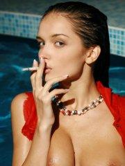 Pictures of Jenya D getting wet and smoking a cigarette