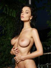 Pictures of Jenya D getting naked outside