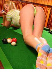 Pictures of Nastya Girl showing her ass on a pool table