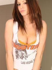 Pictures of Natalie Sparks stripping out of her hooters uniform