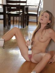 Alison Faye takes herself over the edge with her magic fingers and vibrating toy