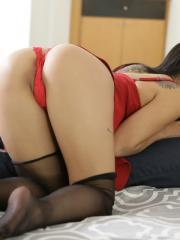 Beautiful latina Gina Valentina puts out in her lingerie