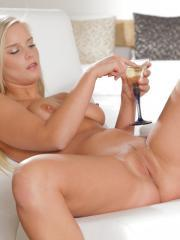 Busty blonde girl Marry Queen drinks champagne and touches her tight pussy