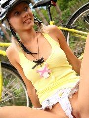 Pictures of teen star Pinky June masturbating on her bike ride