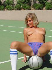 Princess Cameron plays soccer without her top