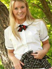 Pictures of teen Private School Jewel dressed as an adorable schoolgirl