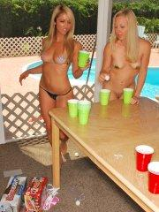 Pictures of Rachel Sexton playing beer pong with her friends