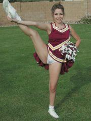 Pictures of a hot teen cheerleader stripping outside
