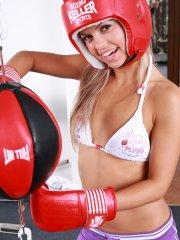 Pictures of teen model Sabrina Blond doing some foxy boxing