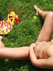 Pictures of Sabrina Blond masturbating on the grass