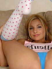 Pictures of teen slut Sandy Summers ready to fuck on the couch