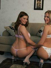 Pictures of Sara Stone and Desirae Spencer getting naked together