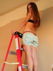 Pictures of Nicole Sparks looking hot on a ladder