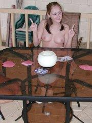 Pictures of teen model Stacy Bride playing strip poker with her friends