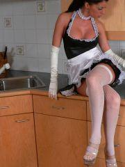 Pictures of Tiffany Preston dressed up as a sexy french maid