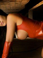 Pictures of Viorotica dressed up in sexy red leather